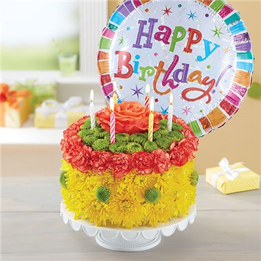 Birthday Wishes Flower CakeTM Yellow 148664Lb HR Fd 3 8 17 NEW